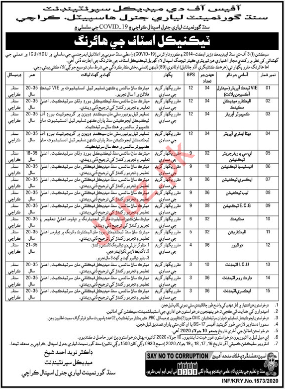 Lyari General Hospital Karachi Jobs 2020 for Technicians