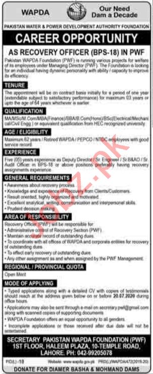 Pakistan Wapda Foundation PWF Lahore Jobs 2020