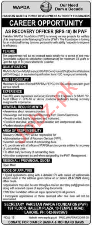 Pakistan Wapda Foundation PWF Lahore Jobs Recovery Officer