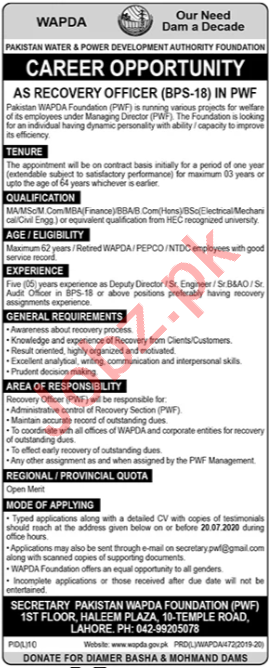 Recovery Officer Jobs in Pakistan Wapda Foundation PWF