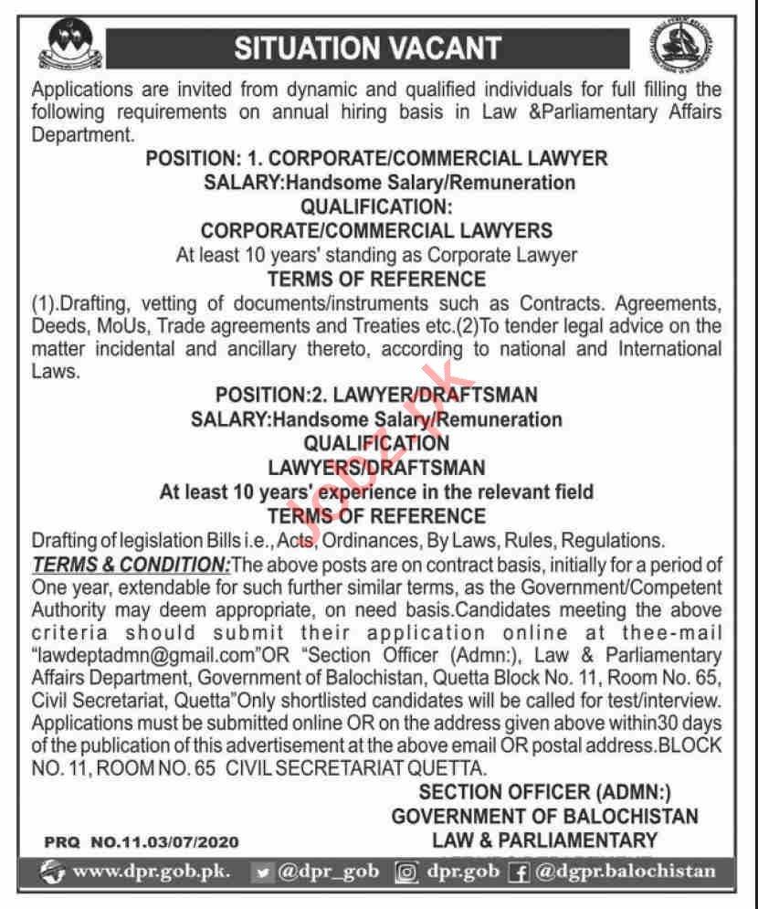 Law & Parliamentary Affairs Department Balochistan Jobs 2020