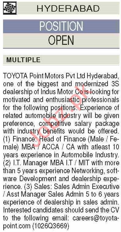 Toyota Point Motors Hyderabad Jobs 2020 for Finance Head