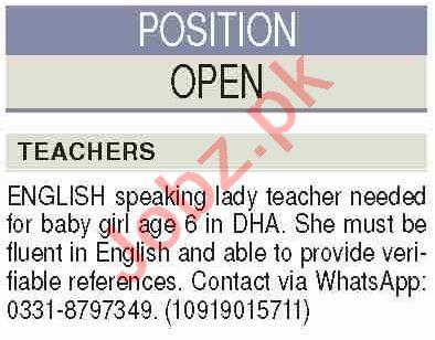 Teacher & English Teacher Jobs 2020 in Karachi