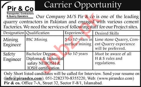 Mining Engineer & Safety Engineer Jobs in Pir & Co Islamabad