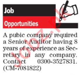 Company Secretary & Senior Auditor Jobs 2020 in Lahore