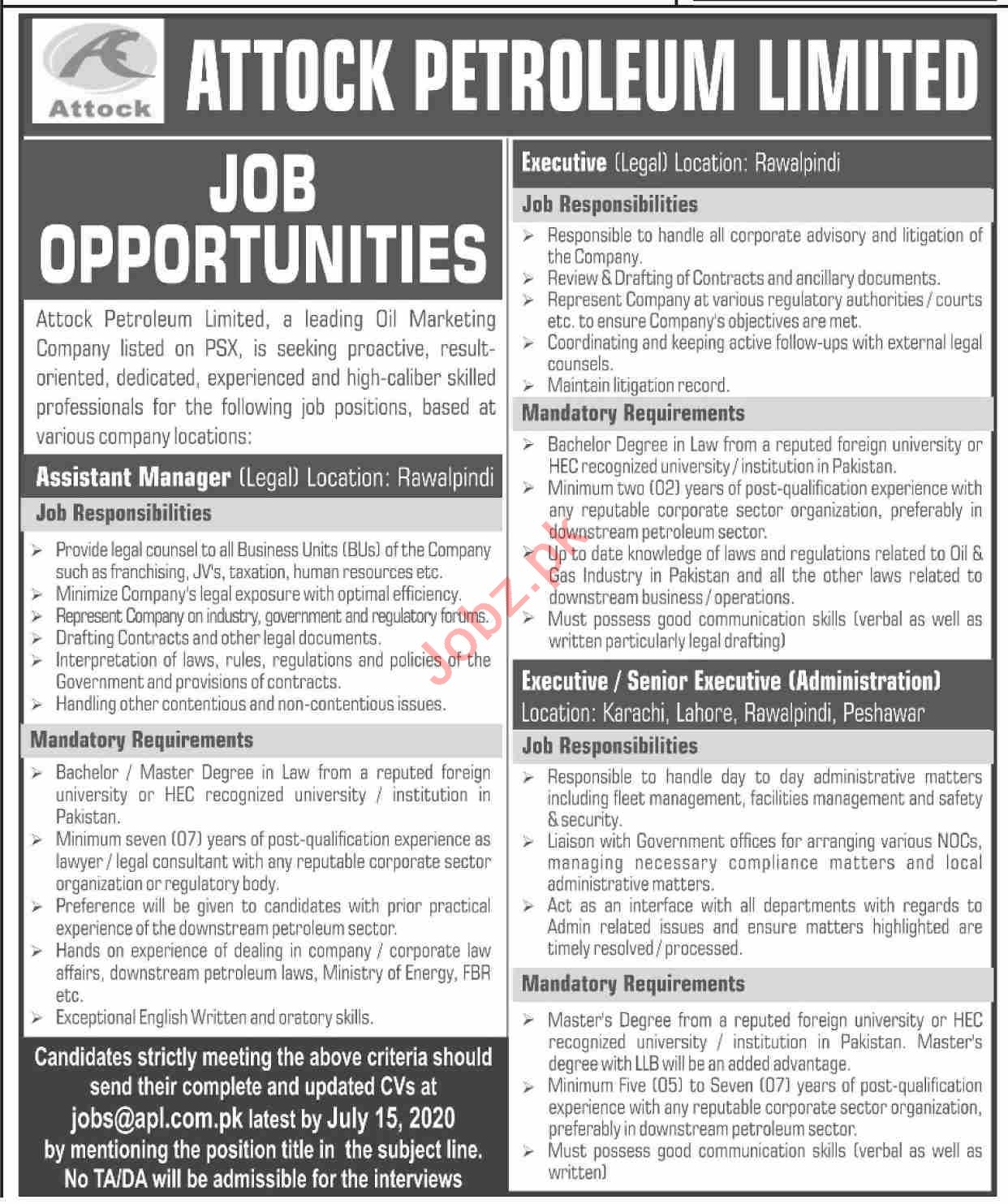Attock Petroleum APL Jobs 2020 for Assistant Managers