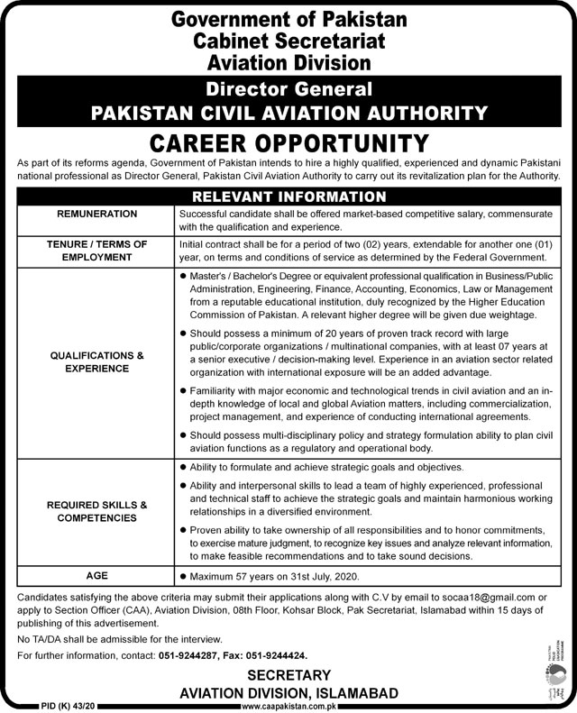 Aviation Division Job FOr Director General in Islamabad
