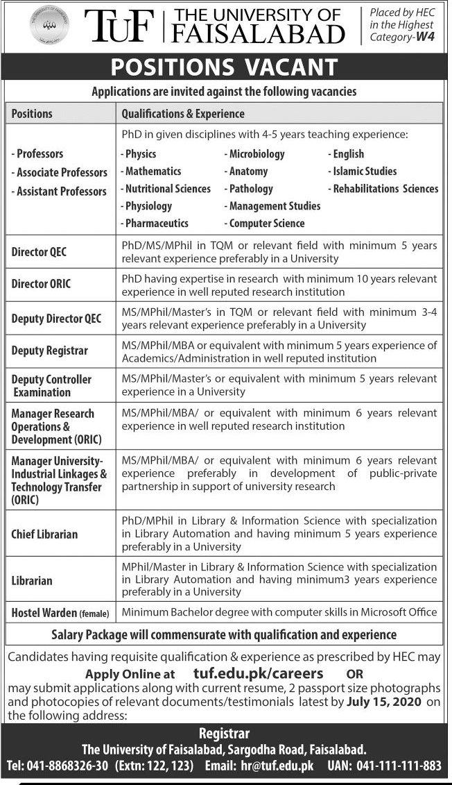 The University of Faisalabad TUF Jobs 2020