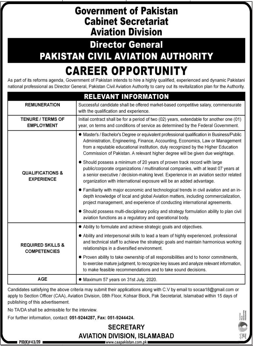 Pakistan Civil Aviation Authority PCAA Job in Islamabad
