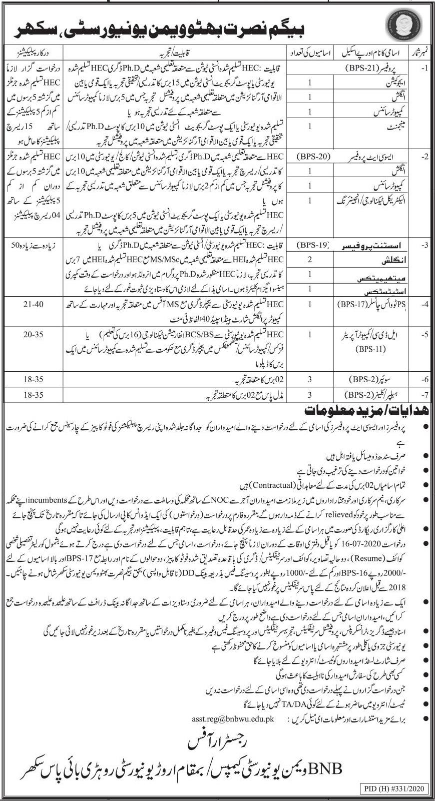 Begum Nusrat Bhutto Women University Jobs 2020