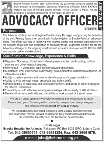 Brooke Pakistan NGO Job 2020 in Lahore