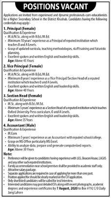 Teaching & Non Teaching Staff Jobs 2020 in Khushab