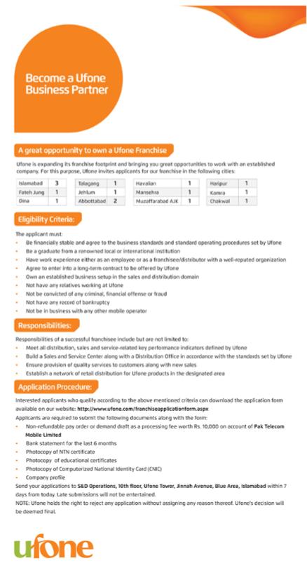 Ufone Franchise Jobs For Customer Service Representatives