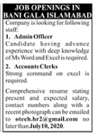 Admin Officer & Accounts Clerks Jobs 2020 in Islamabad