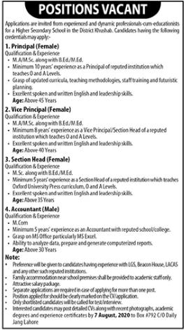 Higher Secondary School Jobs 2020 in Khushab