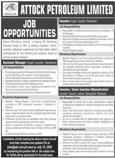 Attock Petroleum Limited Jobs 2020