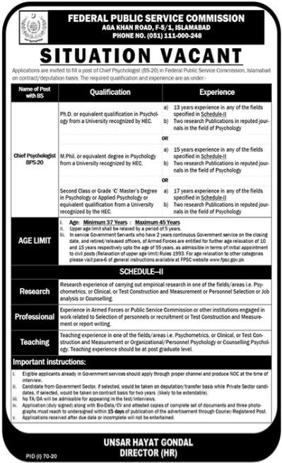 Chief Psychologist Job 2020 in Islamabad