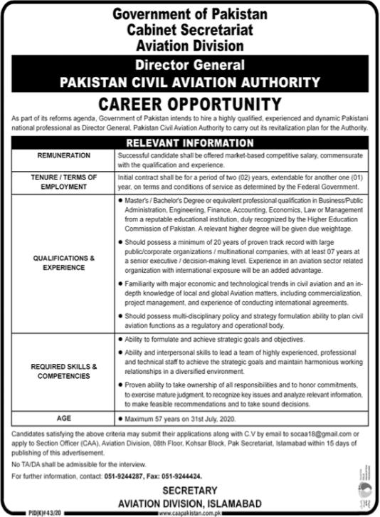 Director General Job 2020 in Islamabad
