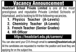 Headstart School Jobs 2020 For Teaching Staff in Islamabad
