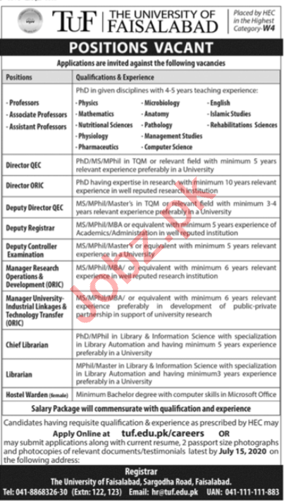 The University of Faisalabad TUF Jobs 2020 for Professors