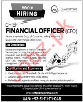 Q Marketing Islamabad Jobs for Chief Financial Officer