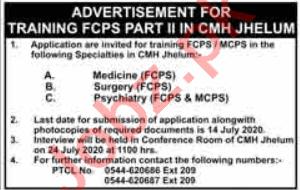 CMH Jhelum Jobs 2020 for Medical Specialist & Doctor