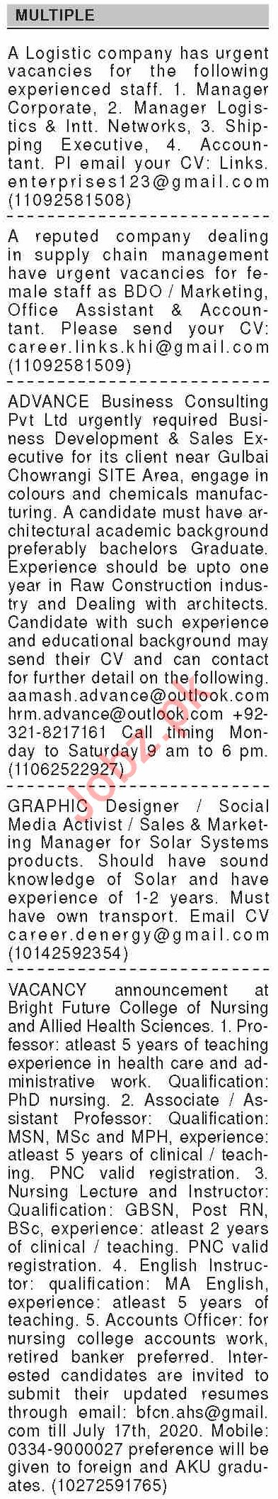 Dawn Sunday Classified Ads 5th July 2020 for Multiple Staff