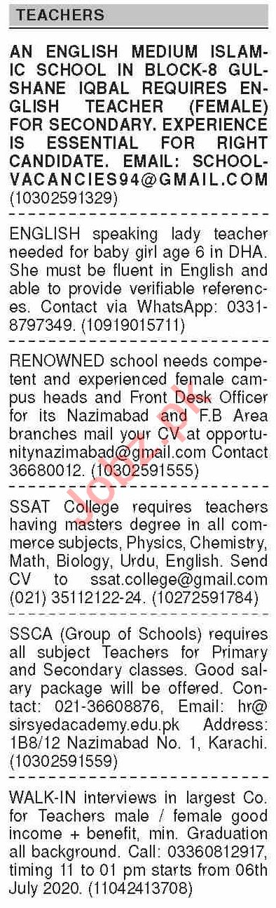 Dawn Sunday Classified Ads 5th July 2020 for Teaching Staff