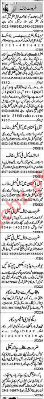 Dunya Sunday Classified Ads 5th July 2020 for Office Staff