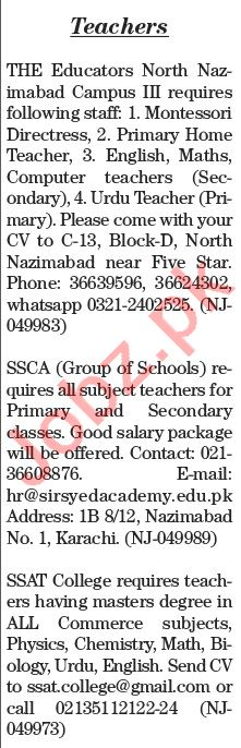 The News Sunday Classified Ads 5th July 2020 for Teaching