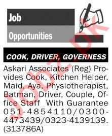 Askari Associate Jobs 2020 for Driver & Cook