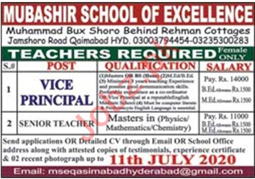 Mubashir School of Excellence Qasimabad Hyderabad Jobs 2020