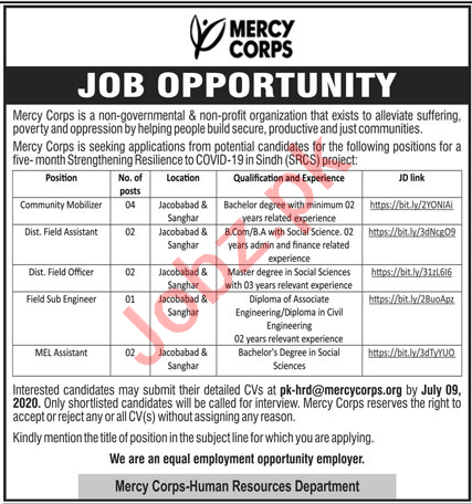 Mercy Corps Pakistan Jobs 2020 for Community Mobilizer