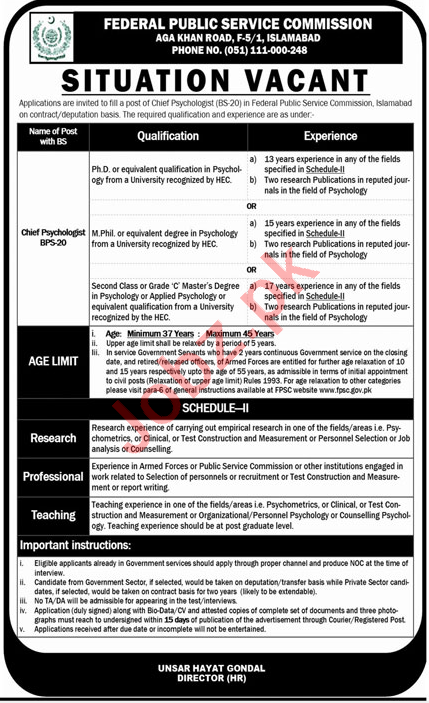 Chief Psychologist Jobs 2020 in FPSC Islamabad
