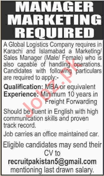 Marketing Manager & Sales Manager Jobs 2020 in Karachi