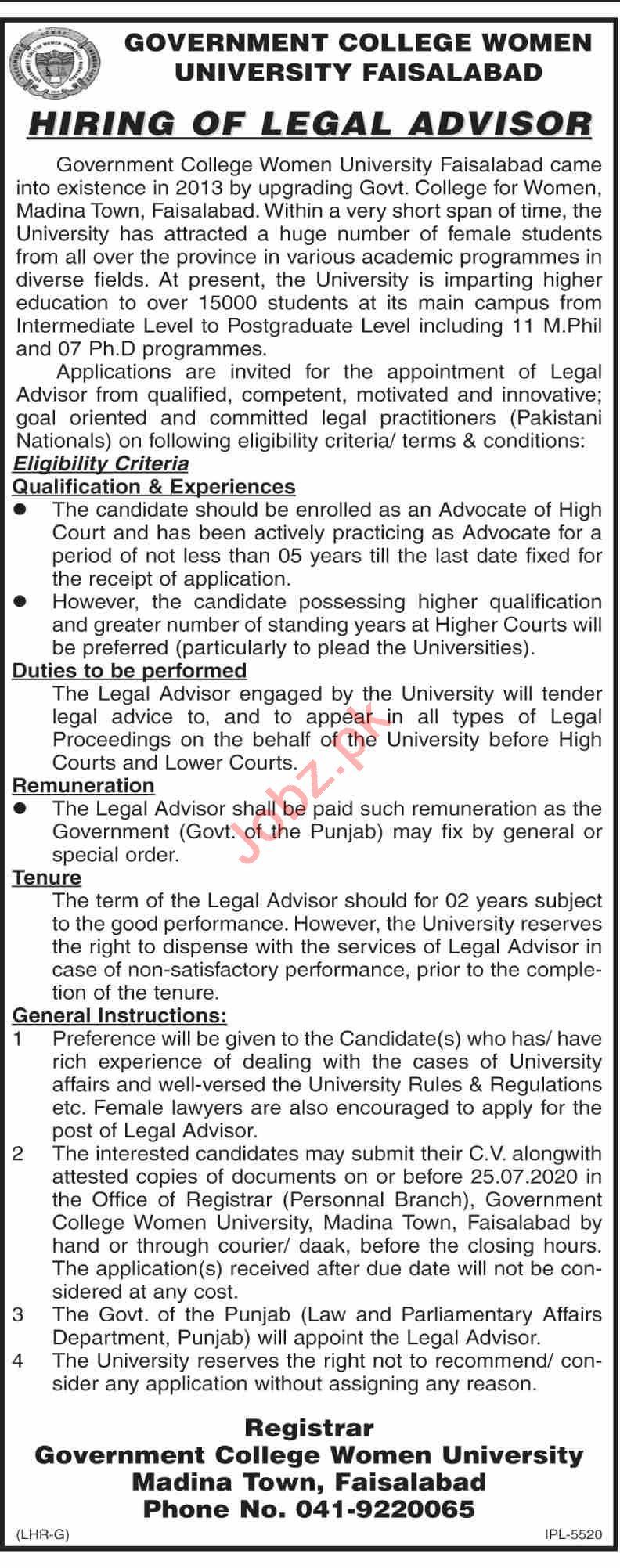 Legal Advisor Jobs in Government College Women University