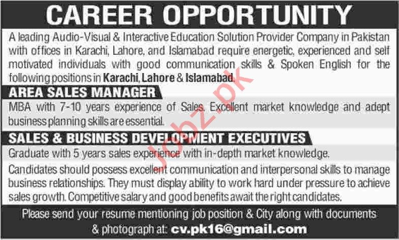 Area Sales Manager & Business Development Executive Jobs