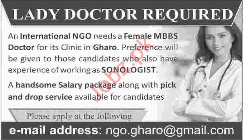 Female MBBS Doctor & Sonologist Jobs 2020 in Karachi