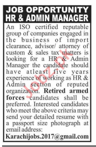 HR & Admin Manager Jobs 2020 in Karachi