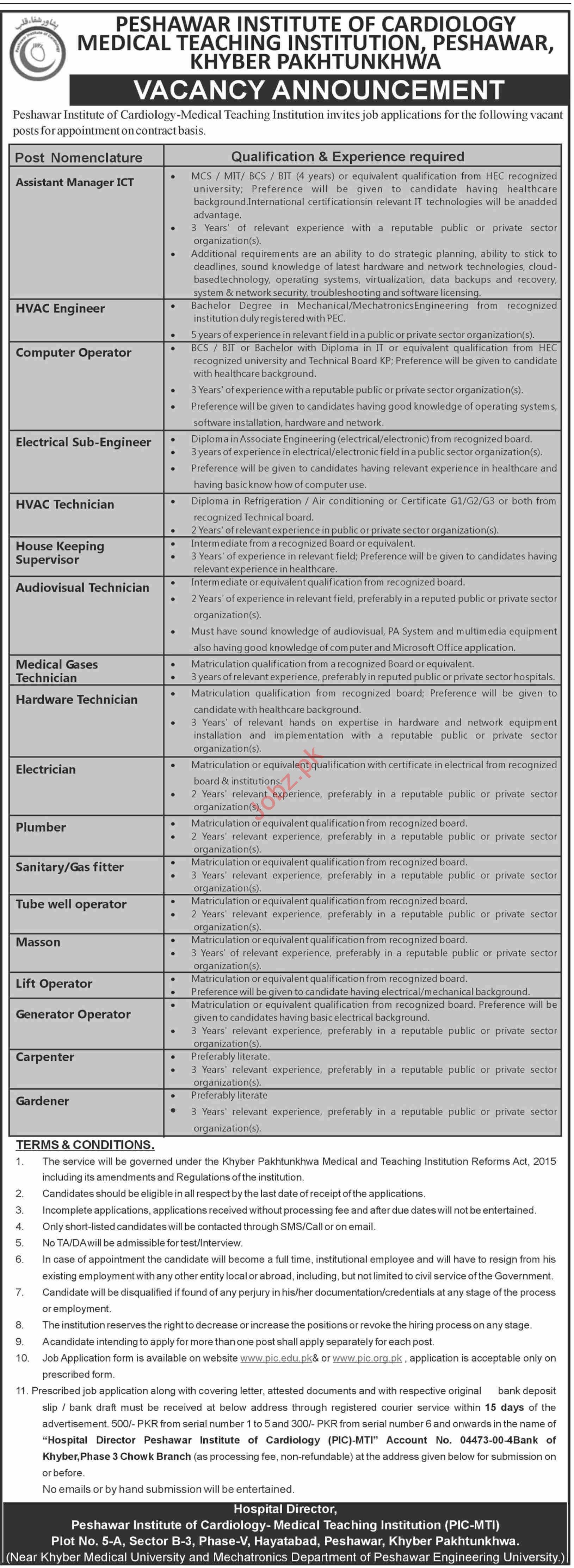 Peshawar Institute of Cardiology PIC MTI Peshawar Jobs 2020