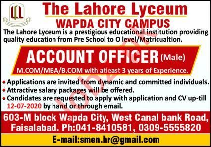 The Lahore Lyceum Wapda City Campus Jobs 2020