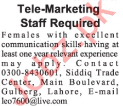 Telemarketing Executive Jobs 2020 in Lahore