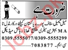 Male & Female Staff Jobs Open in Lahore 2020