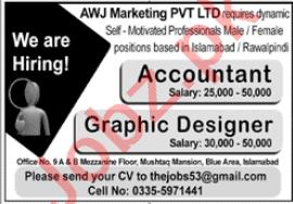 AWJ Marketing Islamabad Jobs 2020 for Accountant & Designer