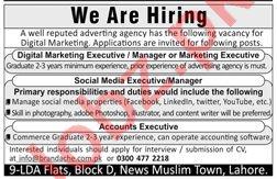 Digital Marketing Executive & Social Media Manager Jobs 2020