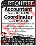 Accountant & Coordinator Jobs 2020 in Lahore