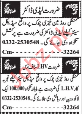 Lady Health Visitor & Lady Doctor Jobs 2020 in Quetta