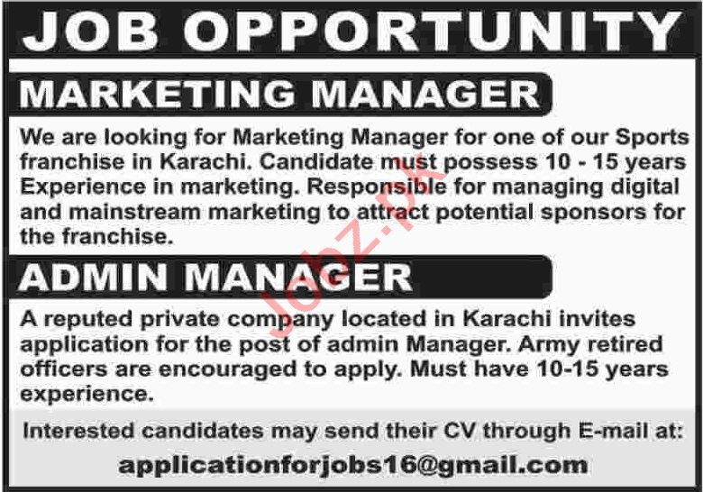 Marketing Manager & Admin Manager Jobs 2020 in Karachi