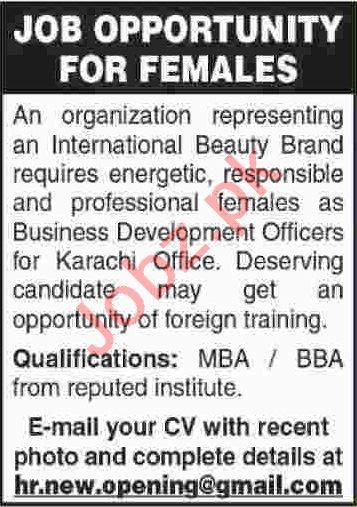 Female Business Development Officer Jobs 2020 in Karachi