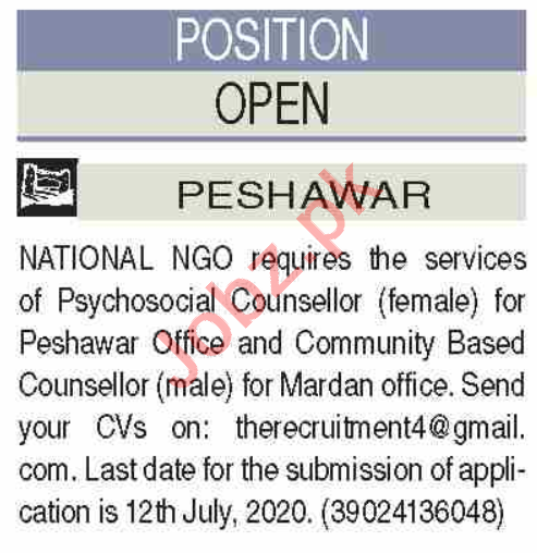 Psychosocial Counselor & Community Base Counselor Jobs